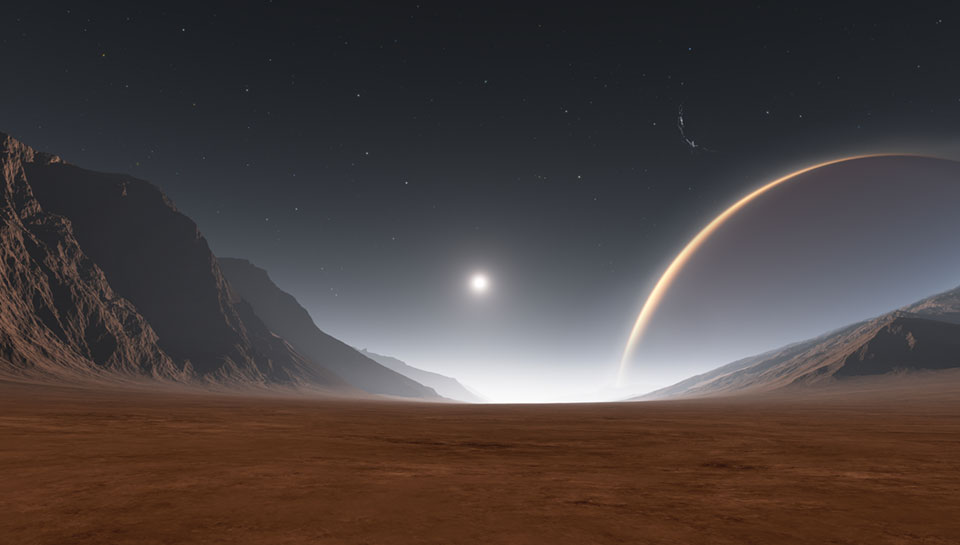 Exoplanet and exomoons illustration