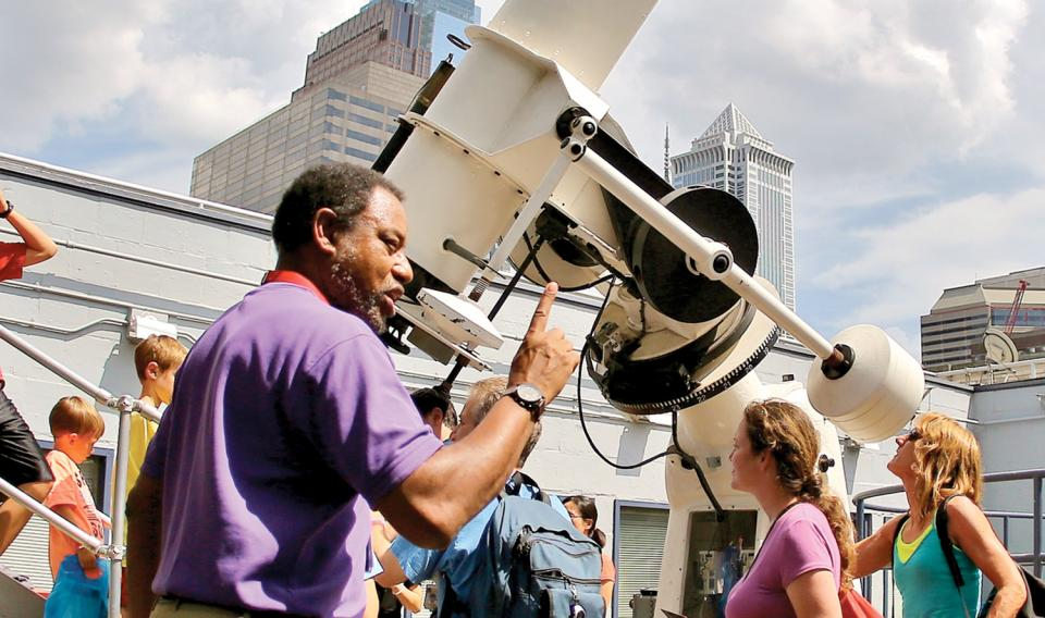 Chief astronomer Derrick Pitts educating in the Holt & Miller Observatory on the roof of The Franklin Institute.