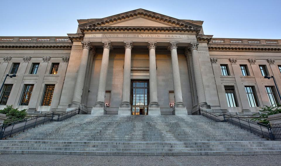 The iconic front steps of The Franklin Institute in Philadelphia