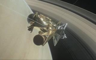 Illustration of Cassini Spacecraft's Grand Finale Dive