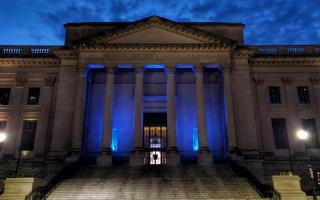 The Franklin Institute is lit with blue lights as part of the Philly Shines Bright initiative thanking healthcare workers and first responders.