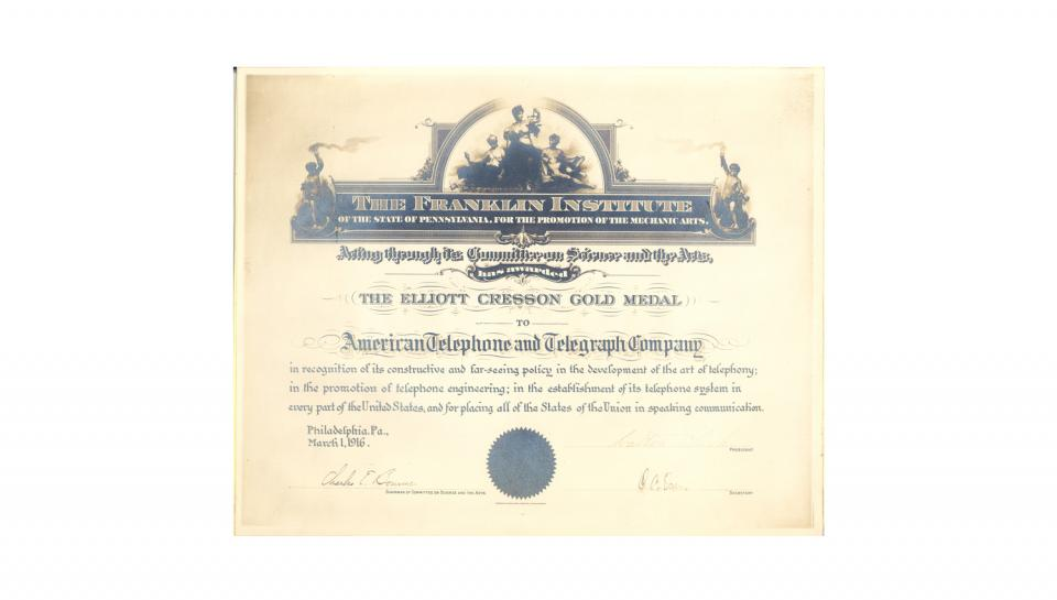 AT&T's Elliott Cresson Gold Medal Certificate, dated 3/1/1916.