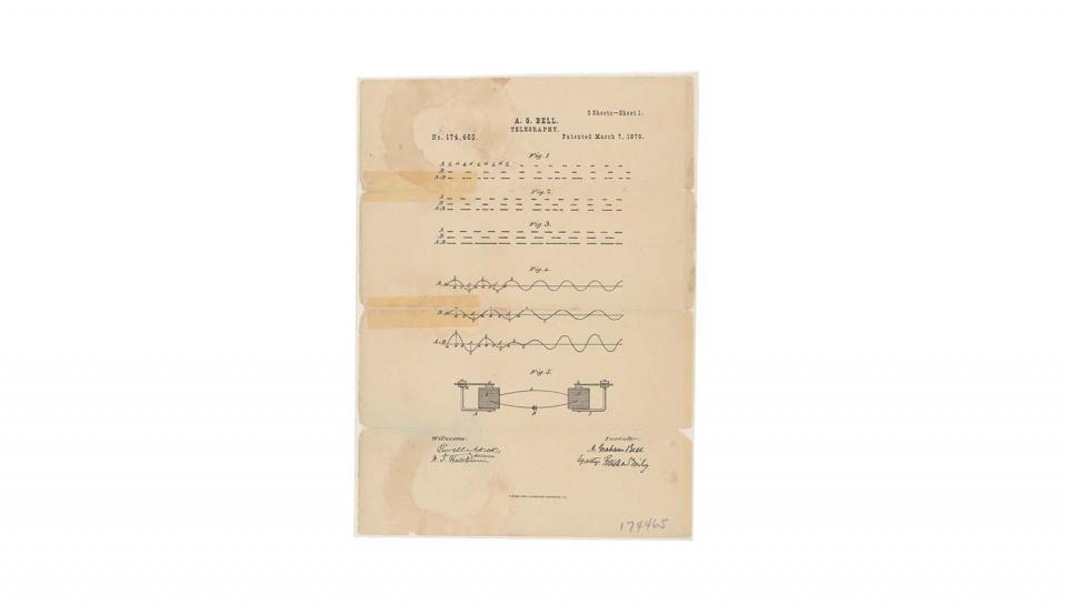 This is the printed patent drawing illustrating Alexander Graham Bell's method of telegraphy, which is considered the first demonstrated usage of the system known as the telephone.