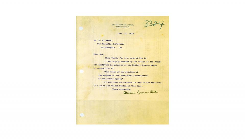 Committee Secretary Letter to Bell, Informing of the Elliot Cresson Medal award, 2/19/1912.