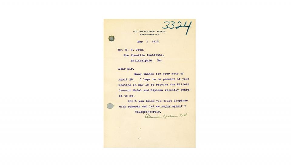 Bell's note of acceptance and thanks upon receipt of The Franklin Institute's Elliot Cresson Medal,2/21/1912.