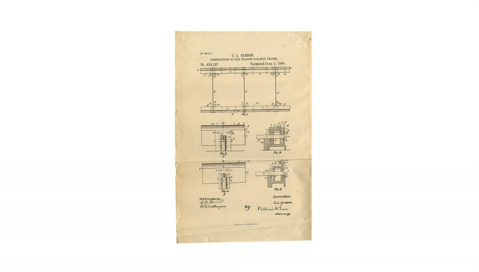 3rd page out of 3 of U.S. Patent #429,127 for Construction of side-bearing railway-tracks, 6/3/1890.