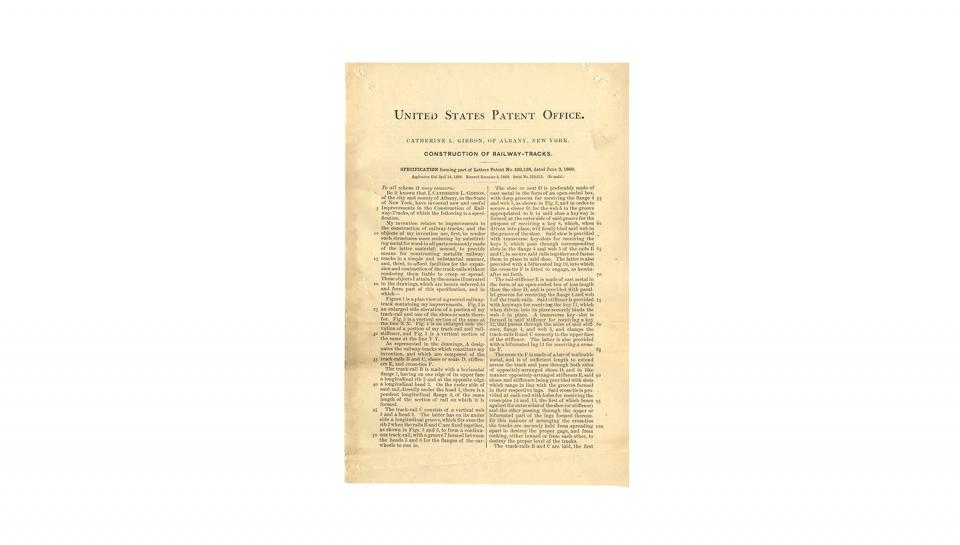 1st page out of 3 of U.S. Patent #429,128 for Construction of railway-tracks, 6/3/1890.