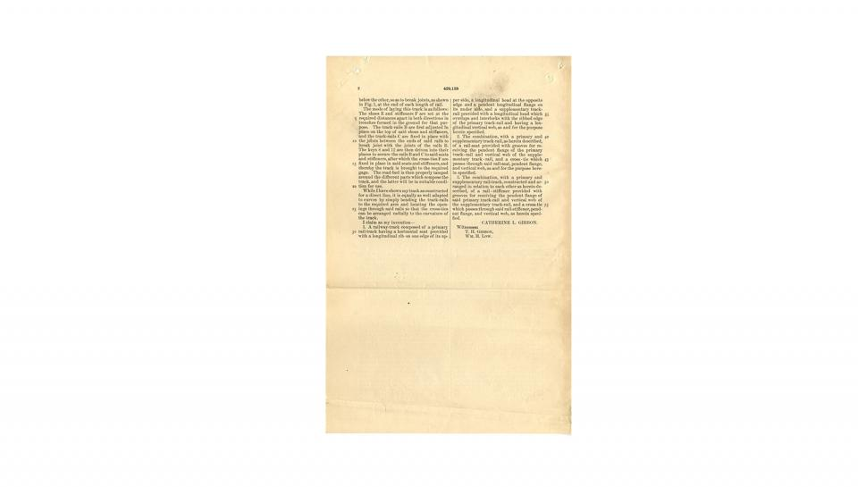 2nd page out of 3 of U.S. Patent #429,128 for Construction of railway-tracks, 6/3/1890.