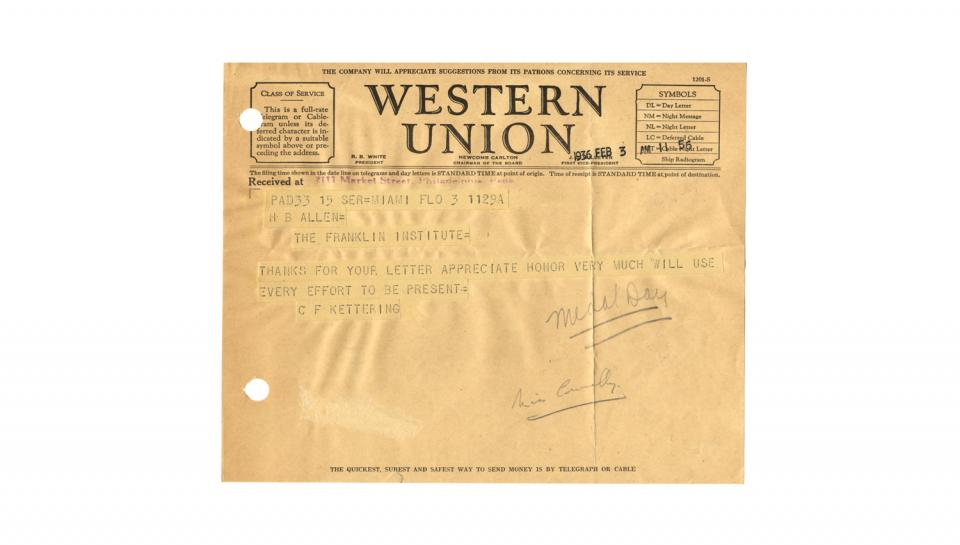 Telegram from C.F. Kettering to H.B. Allen, Acknowledging and appreciating the honor of the Franklin Medal award, 2/3/1936