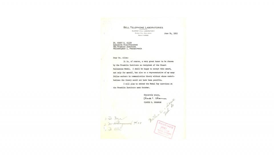 Letter to Allen from Shannon, thanking Allen for the Award, expresses plan to attend Medal Day; 6/24/1955.