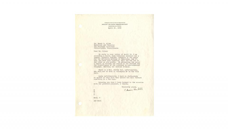 Letter from Edwin Hubble to Henry B. Allen, Enclosing a synopsis of paper for May 17 Medal Day, 4/15/1939