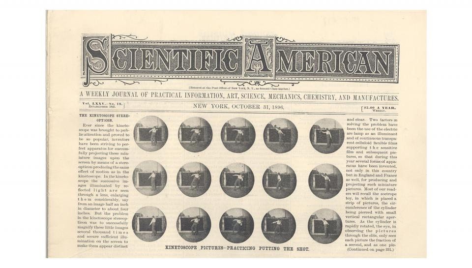 """Scientific American, Volume LXXV, No. 18, """"Apparatus for Projecting Kinetoscope Pictures,"""" 10/31/1896."""