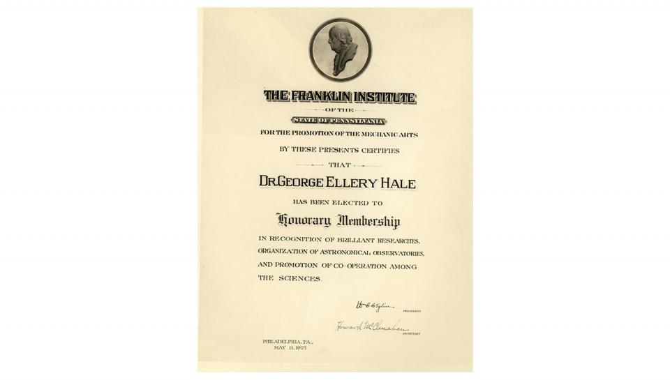 Certificate of election to Honorary Membership of The Franklin Institute, 5/11/1927