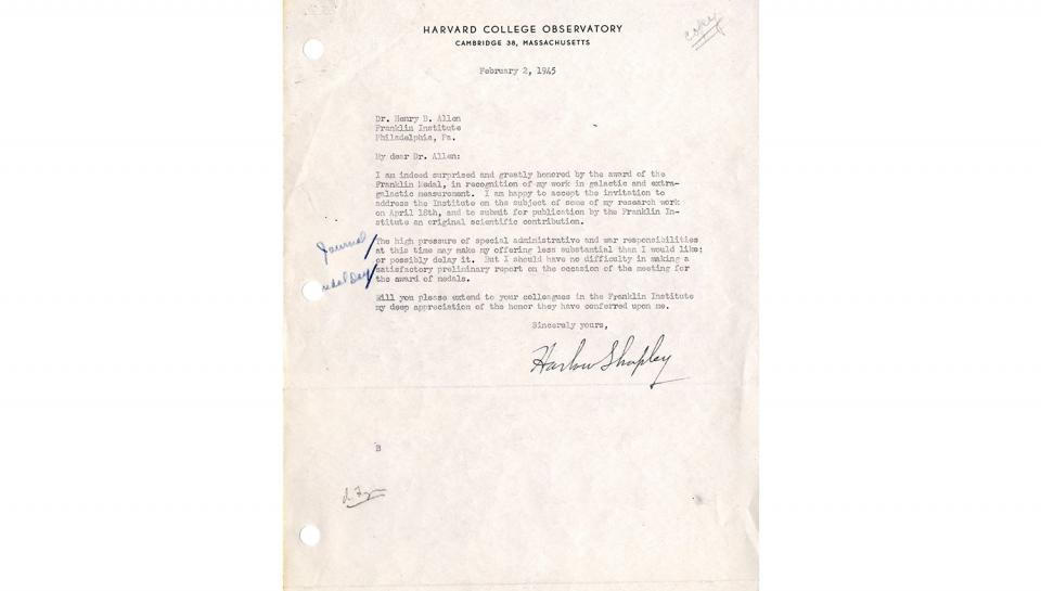 Letter from Harlow Shapley to Dr. Henry B. Allen, In appreciation of the honor of the Franklin Medal; accepting invitation to address Medal Day audience, 2/2/1945.