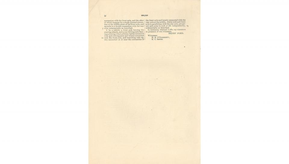 5th page out of 5 from U.S. Patent No. 686,046 on the Motor-Carriage granted to Henry Ford and the Detroit Automobile Company, 11/5/1901.