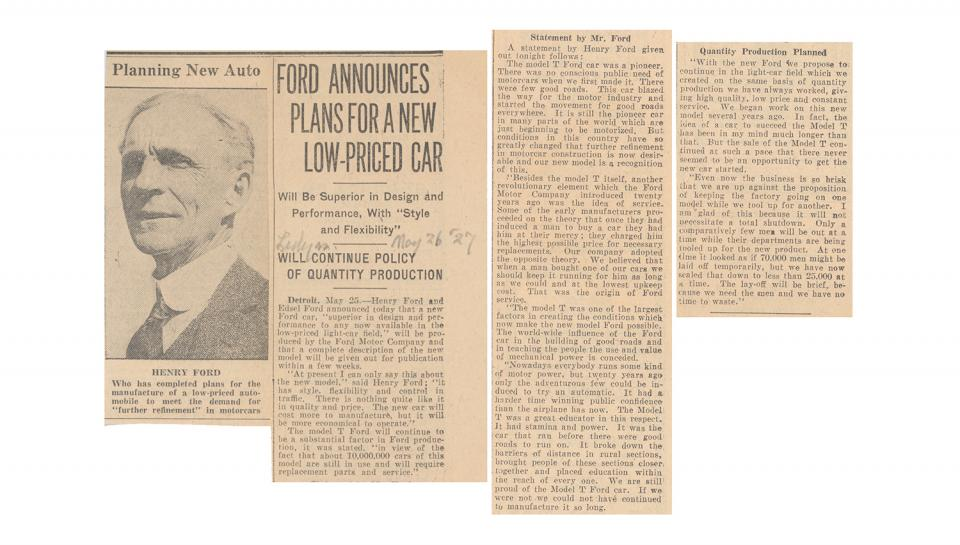 Newspaper clipping announcing the introduction of a new car model, 5/26/1927.
