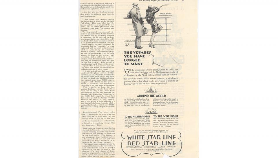 2nd page out of 3 fromLiterary Digest article, Description of the new Ford automobile, 11/12/1927.
