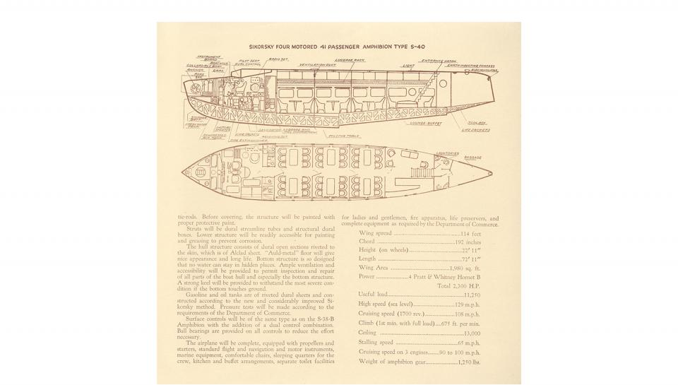 3rd page out of 4 Description of the Sikorsky S-40 Amphibion.