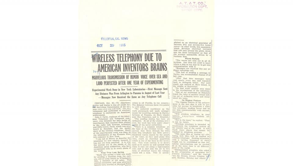 Wireless Telephony Due to American Inventors BrainsOctober 29, 1915.