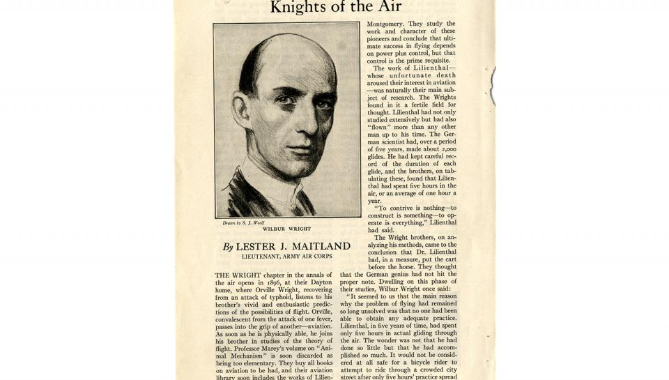 """Page 1 of 14: """"World's Work"""" magazine article on the Wright brothers, September, 1928"""