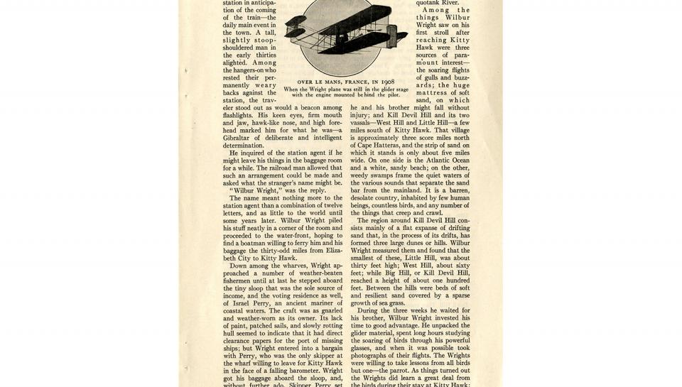 """Page 2 of 14: """"World's Work"""" magazine article on the Wright brothers, September, 1928"""