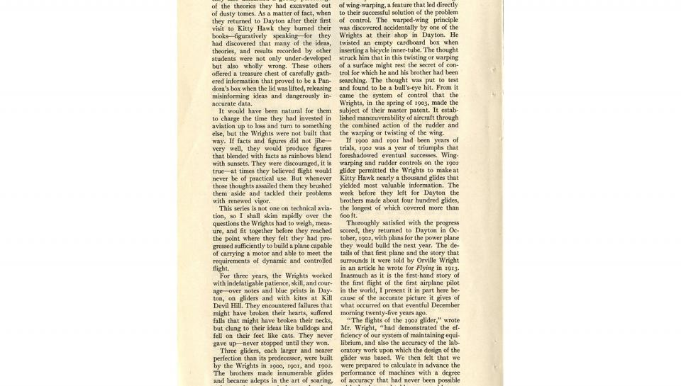 """Page 3 of 14: """"World's Work"""" magazine article on the Wright brothers, September, 1928"""