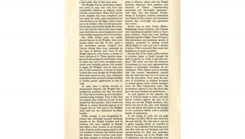 """Page 8 of 14: """"World's Work"""" magazine article on the Wright brothers, September, 1928"""
