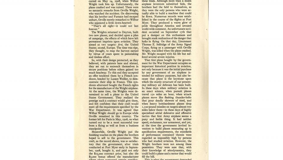 """Page 9 of 14: """"World's Work"""" magazine article on the Wright brothers, September, 1928"""