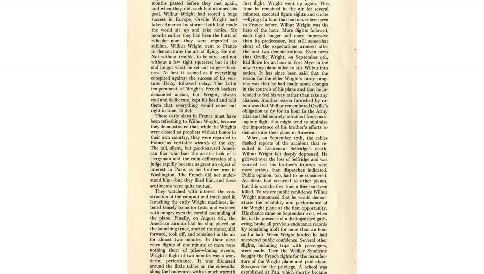"""Page 11 of 14: """"World's Work"""" magazine article on the Wright brothers, September, 1928"""