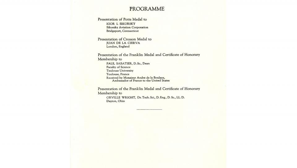 Page 3 of 3: Announcement, announcing details of the 1933 Medal Meeting of The Franklin Institute, 5/17/1933