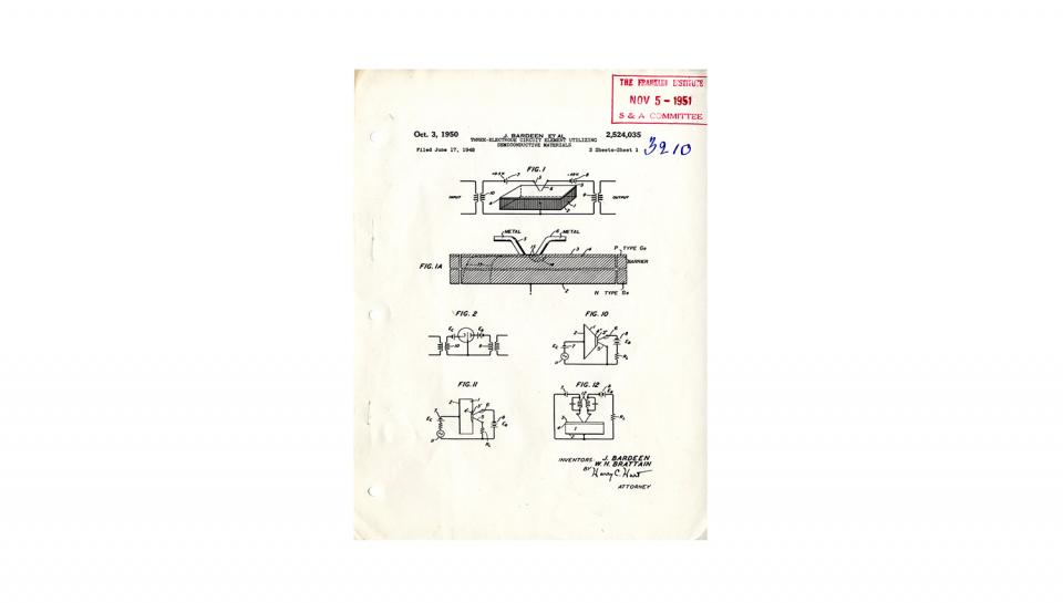 """Page 1 of 14: Patent 2,524,035 for the """"Three-Electrode Circuit Element Utilizing Semiconductive Materials;"""" 14 pages; 10/3/1950"""