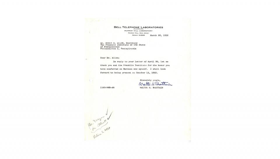Letter to Allen from Brattain; Thanks The Franklin Institute for the award; 3/28/1952