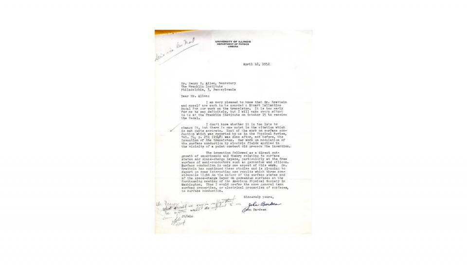 Letter to Allen from Bardeen;Acknowledges award, suggests a correction to the citation; 4/12/1952