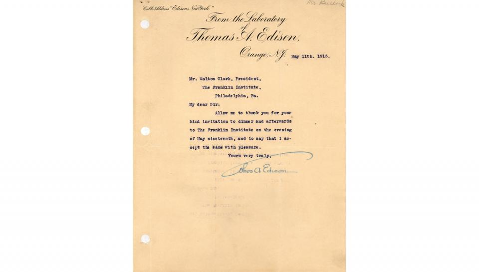 To Walton Clark, Accepting the invitation to dinner and the Franklin Institute Awards ceremony, 5/11/1915