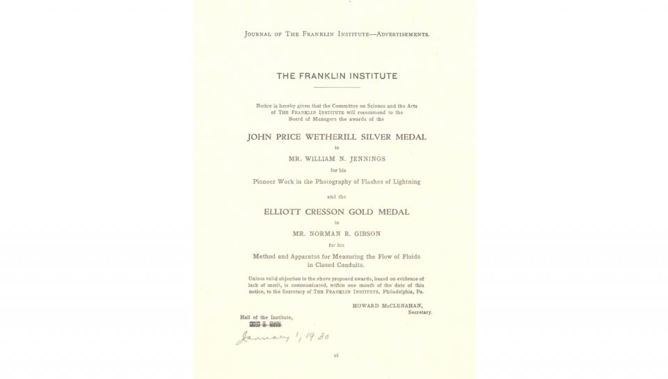 Journal of The Franklin Institute Advertisement, 1/1/1930.
