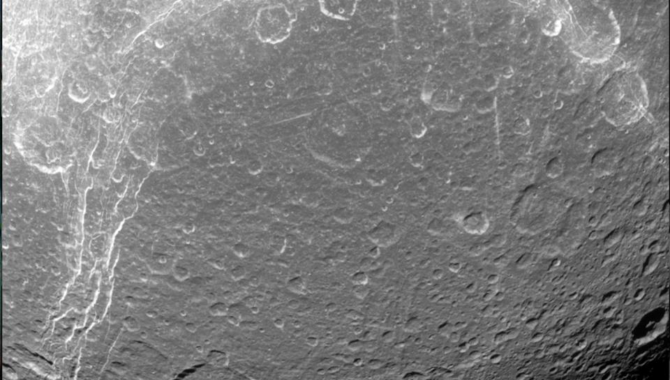 Image of Dione, a moon of Saturn