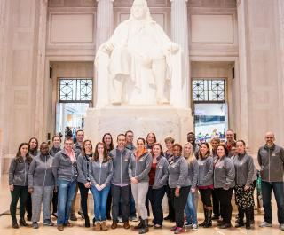 The 2018 class of Master Educators gathers at the Benjamin Franklin Memorial at The Franklin Institute in Philadelphia.