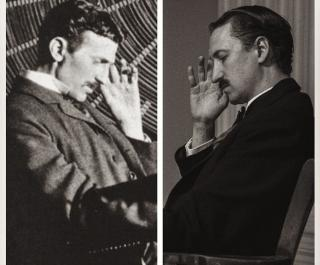 Historical photo Nikola Tesla and photo of actor in a play about Tesla